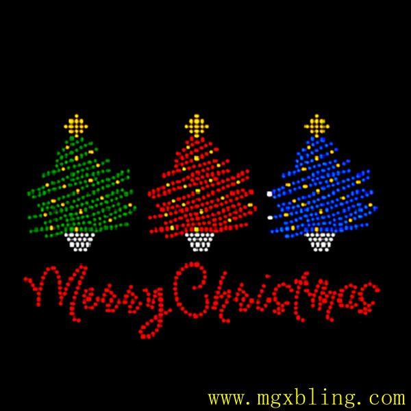 d9f0c39db1dd1 Bling bling Xmas Iron on Rhinestone Transfer Merry Christmas bling tree for  Garments